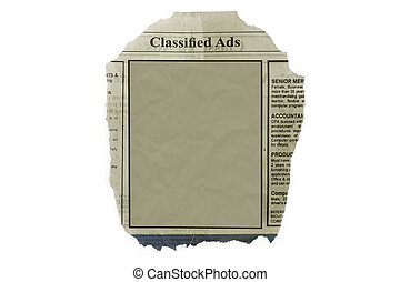 Classified ads isolated in white with blank space for your...