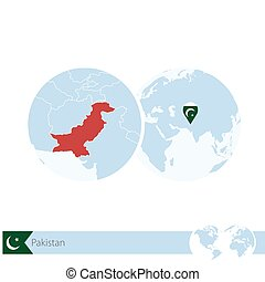 Pakistan on world globe with flag and regional map of...