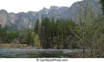 Merced River In Yosemite National Park. Low point shooting