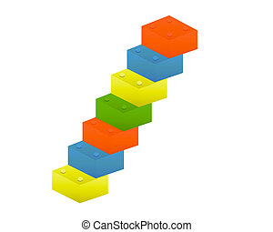 Toy Blocks - Colorful toy blocks on white background - 3d...