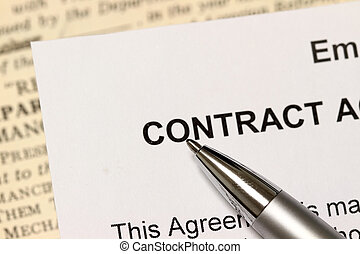 The Contract - A pen points to the words, contract Narrow...