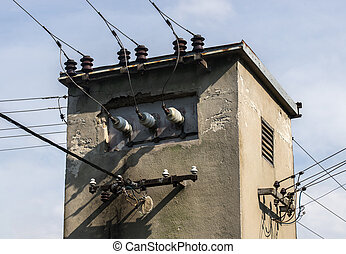 Small power Transformer tower with electric cables