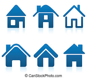 Dark blue icons of small houses for web design. A vector...