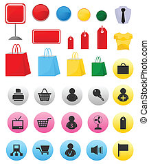 Icons on a theme shop and sales. A vector illustration