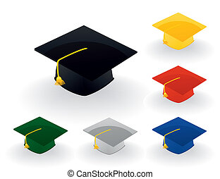 Magistersky a hat of the graduate of college. A vector illustration