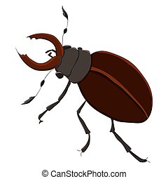 The horned beetle. vector illustration. Drawing by hand. -...