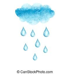 水彩画, 低下, 雲, 雨