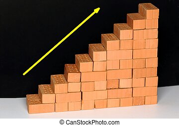 growing symbol with arrow and brick stairway
