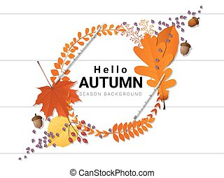 Hello autumn background with decorative wreath on wooden board 1