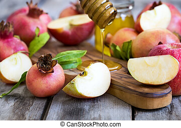Rosh Hashana symbols - Apples, pomegranate and honey -...