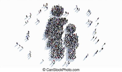 people shape of Mother and child sign. - A large group of...