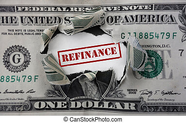 Refinancing dollar rip - Red refinancing stamp in torn...