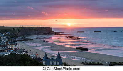 Mulberry Harbour at Arromanches - The harbours were...