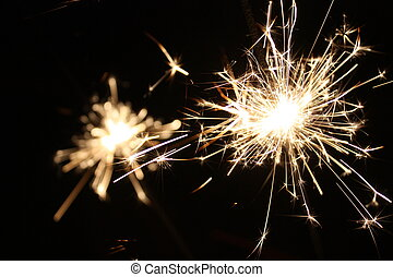 Merry Christmas!   - burning sparkler on New Year?s Eve