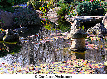 Lantern in Japanese Water Garden - Stone Water Viewing...