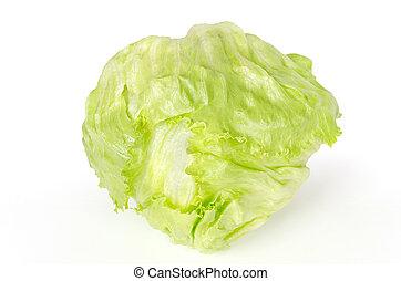 Iceberg or crisphead lettuce front view over white - Iceberg...