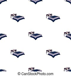 A bed with a back, pillows and a coverlet. Beds single icon...