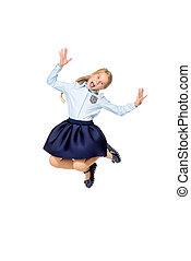 joyful jumping girl - Happy excited schoolgirl in school...