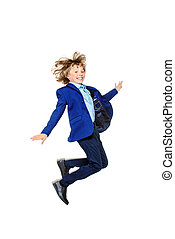 jumping boy in a suit - Happy excited boy in school uniform...