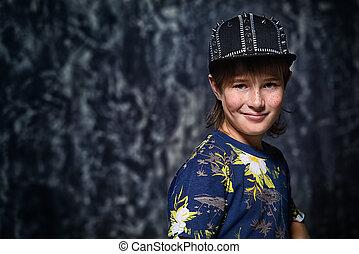 trendy pre-teen boy - Portrait of a cool trendy ten-year-old...