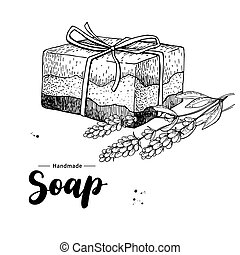 Handmade natural soap. Vector hand drawn illustration of...