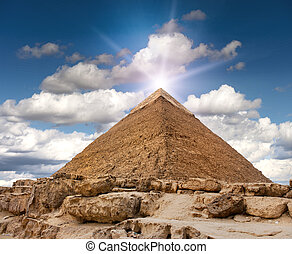 Giza pyramid - Pyramid of Giza in the rock desert