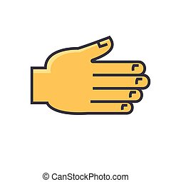 Open hand, greetings, grabbing, reaching gesture concept. Line vector icon. Editable stroke. Flat linear illustration isolated on white background