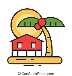 Summer travel, beach, home in palmes, sunset, tropical vacation, bungalow concept. Line vector icon. Editable stroke. Flat linear illustration isolated on white background