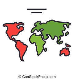 World map, continents, globe concept. Line vector icon. Editable stroke. Flat linear illustration isolated on white background