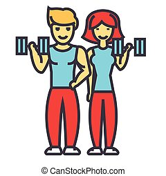 Happy couple in fitness gym, fit man and woman concept. Line vector icon. Editable stroke. Flat linear illustration isolated on white background