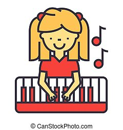 Happy little girl playing on piano, pianist concept. Line vector icon. Editable stroke. Flat linear illustration isolated on white background