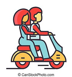 Couple in love riding a motorcycle, happy man with woman driving a scooter concept. Line vector icon. Editable stroke. Flat linear illustration isolated on white background