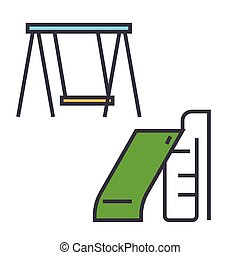 Children slide and swing, park playground equipment concept. Line vector icon. Editable stroke. Flat linear illustration isolated on white background