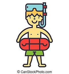 Boy with swimming mask and ring in pool, kids learn to swim, children beach vacation concept. Line vector icon. Editable stroke. Flat linear illustration isolated on white background