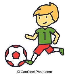 Soccer, boy playing football concept. Line vector icon....