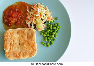Mince meat pie served on a plate - Flat lay view of mince...
