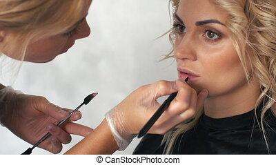 Makeup artist paints the lips of a young woman in a beauty salon