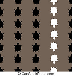 seamless colorful turtle pattern with lines of turtles in...