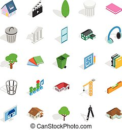 Excellent house icons set, isometric style - Excellent house...