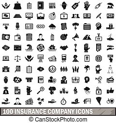 100 insurance company icons set, simple style
