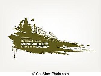 grunge solar panels Renewable energy