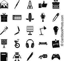 Boon icons set, simple style - Boon icons set. Simple set of...