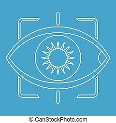 Eye with integrated camera lens icon outline style
