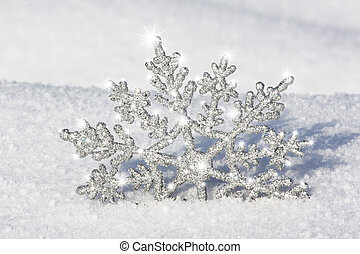 silver snowflake shinning - beautiful silver snowflake in...