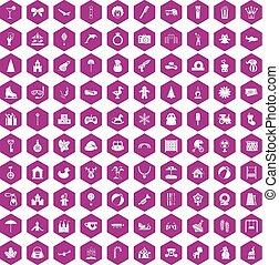 100 happy childhood icons hexagon violet - 100 happy...