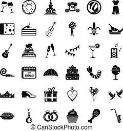 Banquet icons set, simple style - Banquet icons set. Simple...