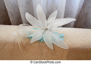 Headpiece - Bride's floral headpiece - wedding day image.