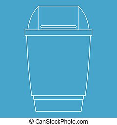 Dustbin icon, outline style - Dustbin icon blue outline...