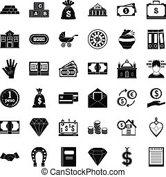Deposit icons set, simple style - Deposit icons set. Simple...