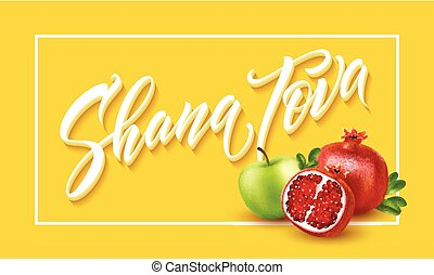 A greeting card with stylish lettering Shana Tova. Vector...